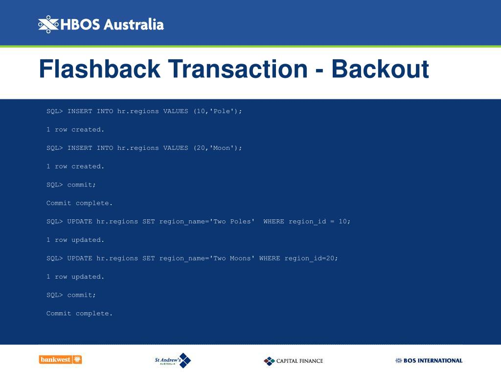 Flashback Transaction - Backout