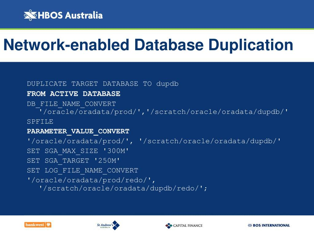 Network-enabled Database Duplication