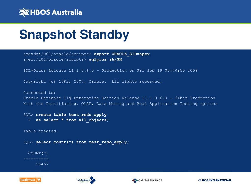 Snapshot Standby