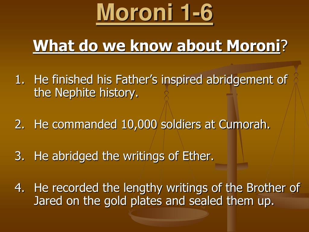 Moroni 1-6