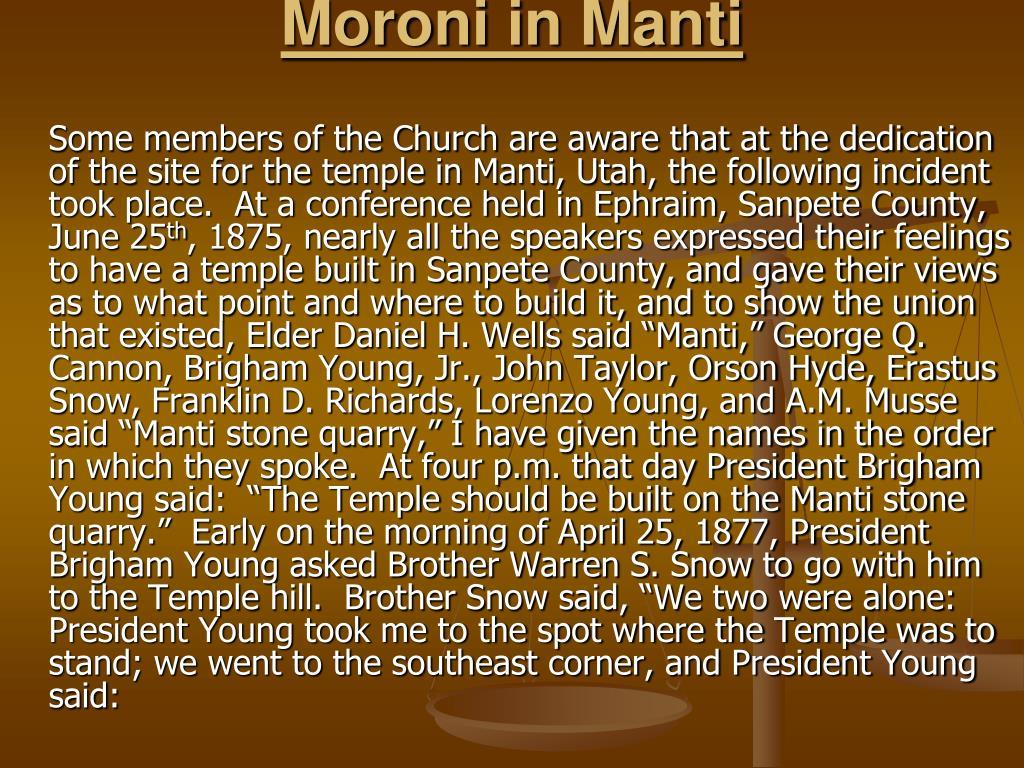 Moroni in Manti