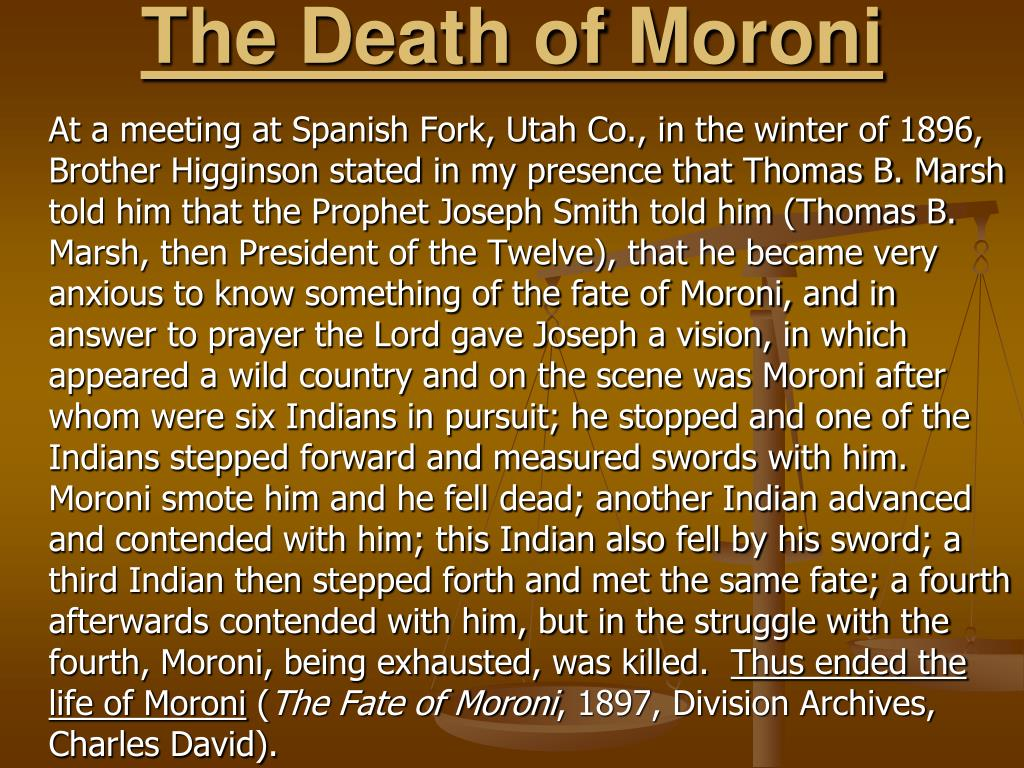 The Death of Moroni