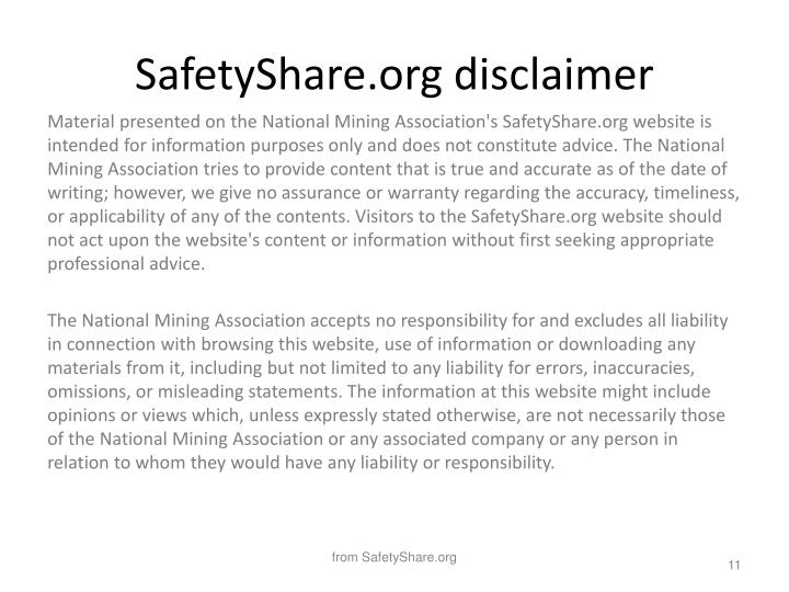SafetyShare.org disclaimer