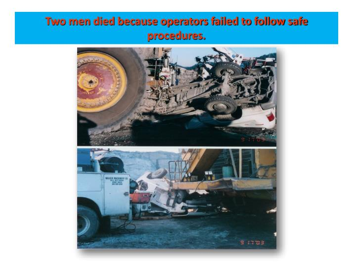 Two men died because operators failed to follow safe