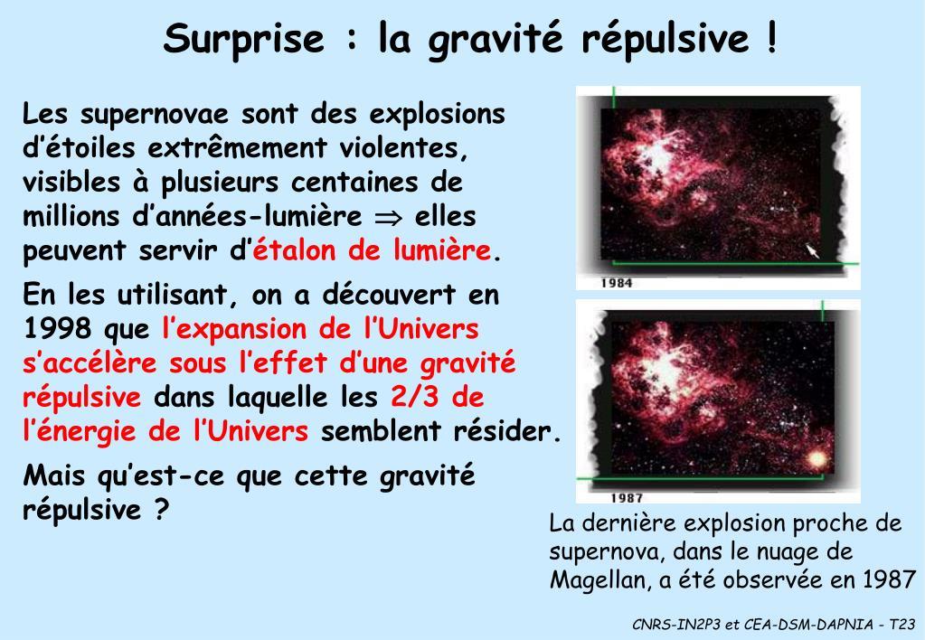 Surprise : la gravité répulsive !