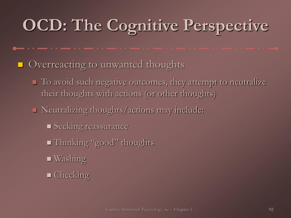 OCD: The Cognitive Perspective