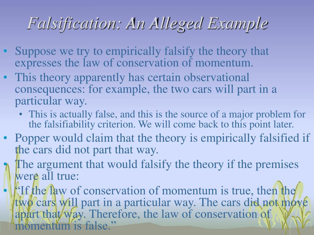 Falsification: An Alleged Example