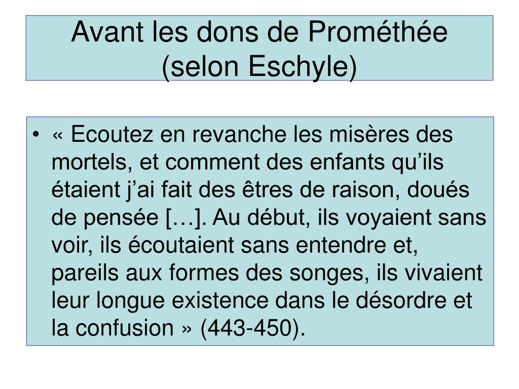 Avant les dons de Prométhée (selon Eschyle)