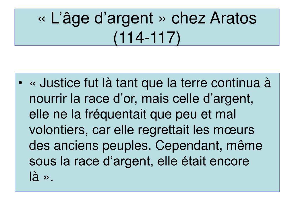 «L'âge d'argent» chez Aratos (114-117)