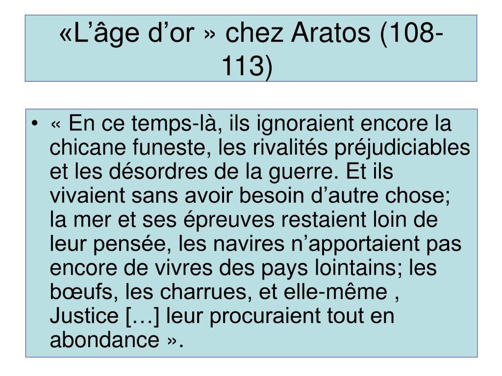 «L'âge d'or» chez Aratos (108-113)
