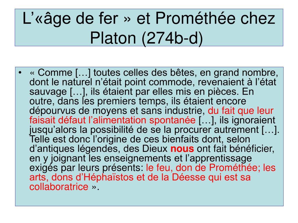 L'«âge de fer» et Prométhée chez Platon (274b-d)