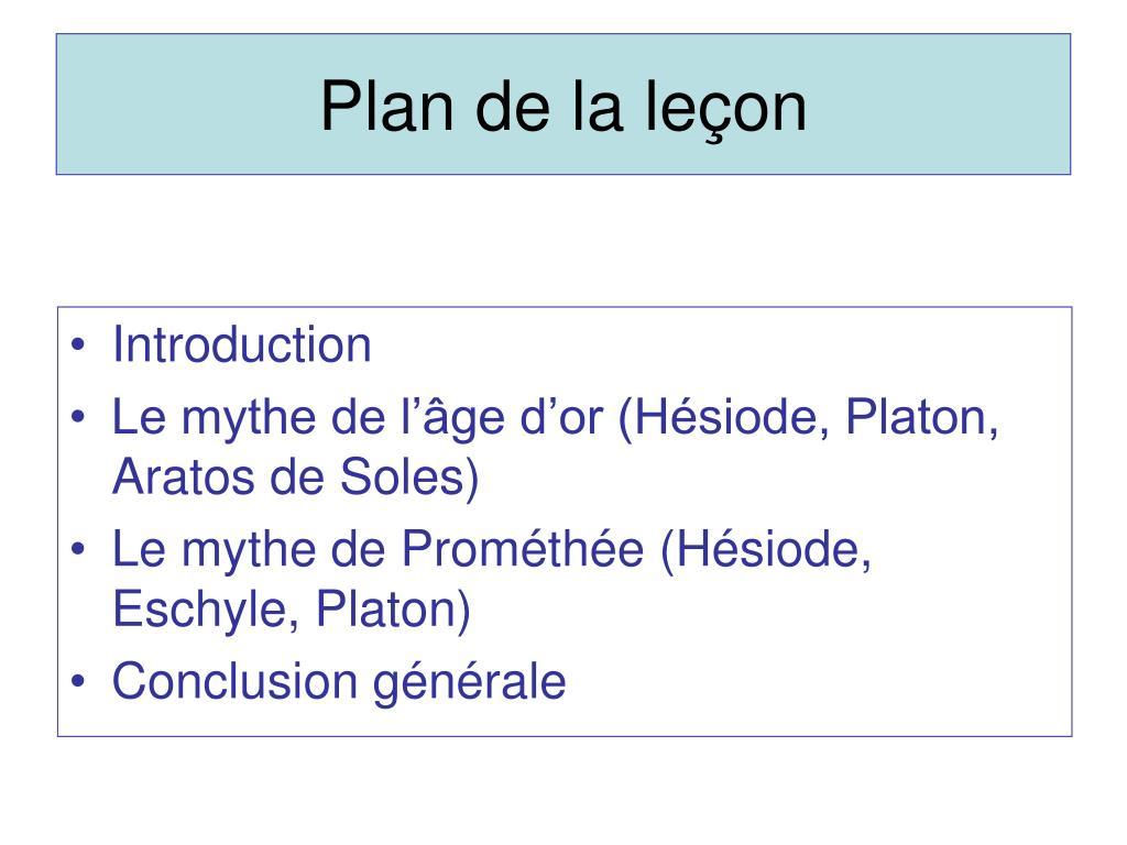 Plan de la leçon