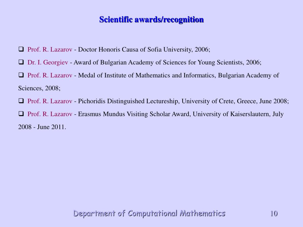 Scientific awards/recognition