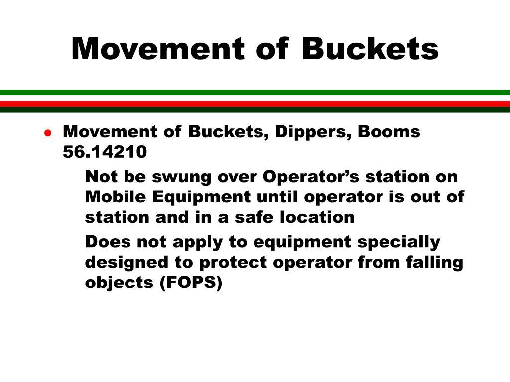 Movement of Buckets