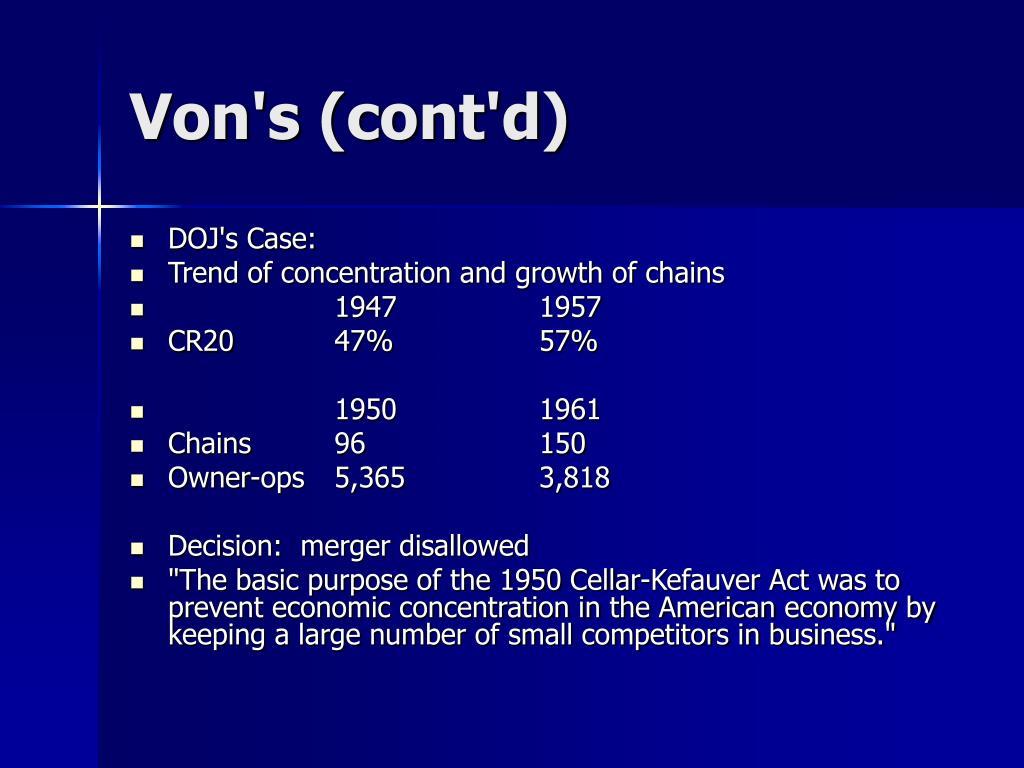 Von's (cont'd)