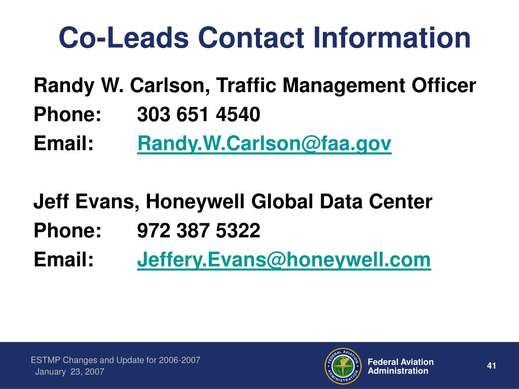 Co-Leads Contact Information