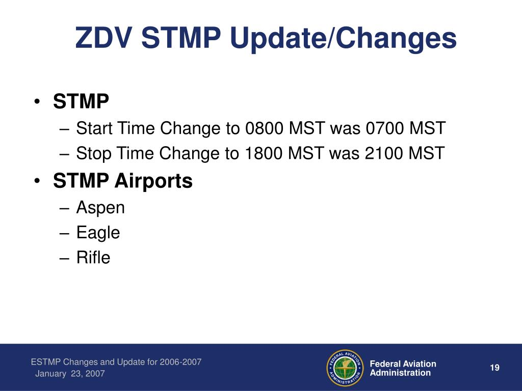 ZDV STMP Update/Changes