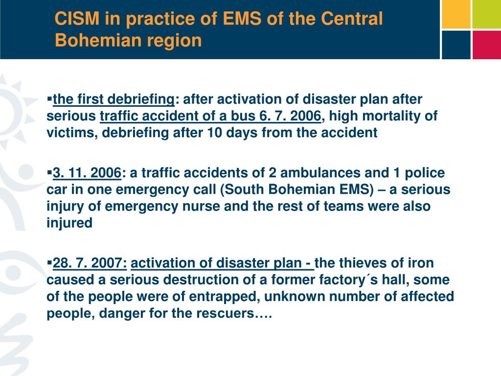 CISM in practice of EMS of the Central Bohemian region