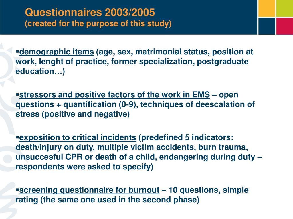 Questionnaires 2003/2005