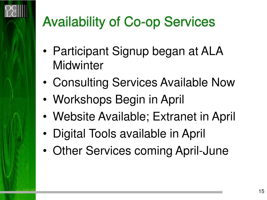 Availability of Co-op Services