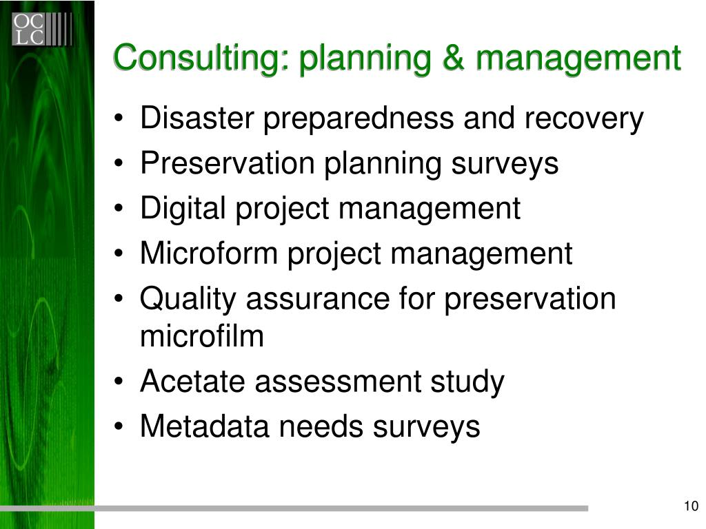 Consulting: planning & management