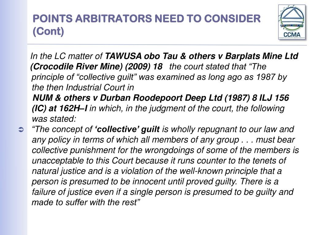 POINTS ARBITRATORS NEED TO CONSIDER (Cont)