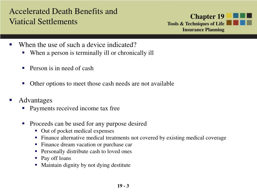 Accelerated Death Benefits and Viatical Settlements