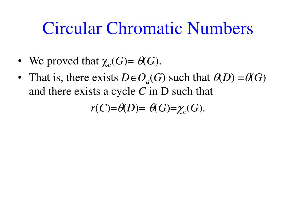 Circular Chromatic Numbers