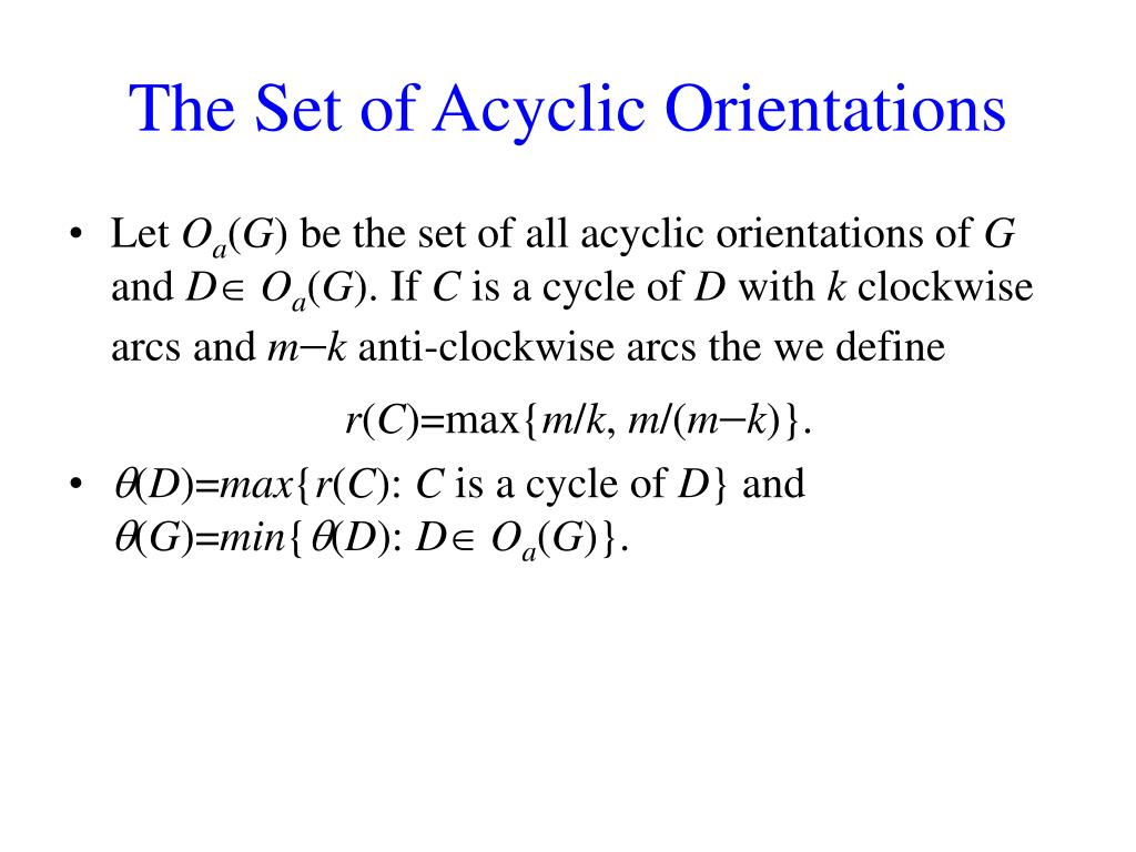 The Set of Acyclic Orientations