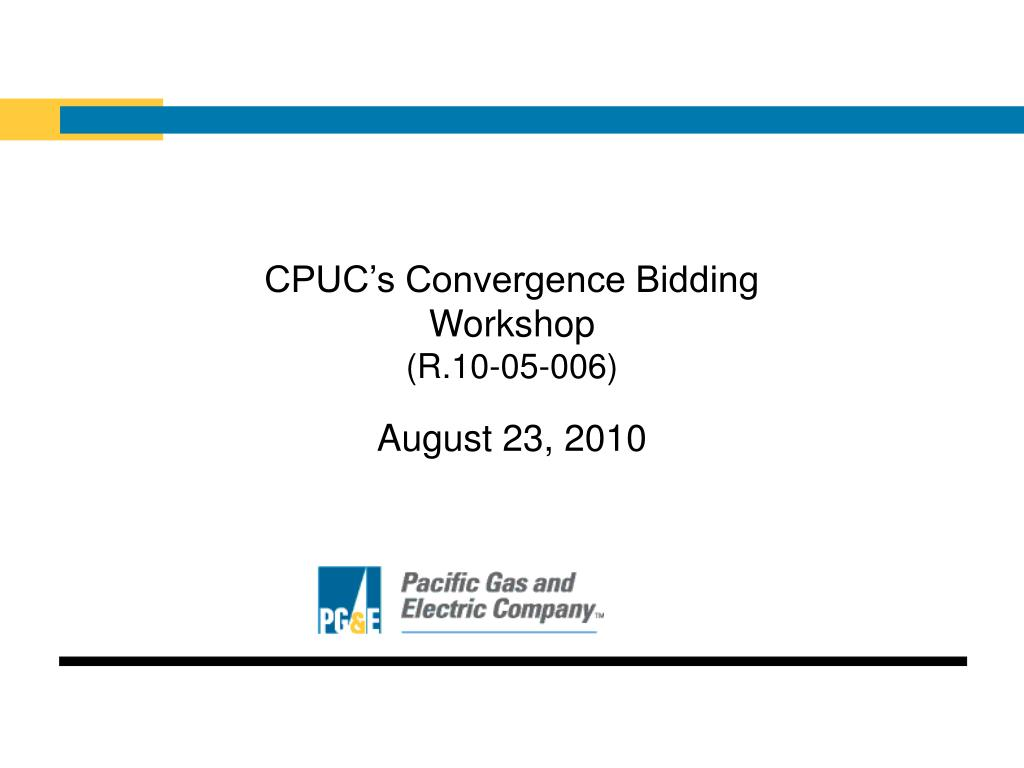 CPUC's Convergence Bidding
