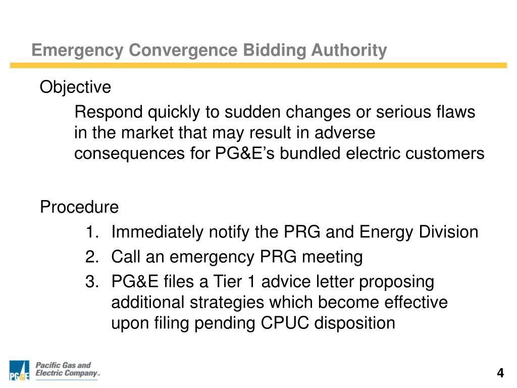 Emergency Convergence Bidding Authority