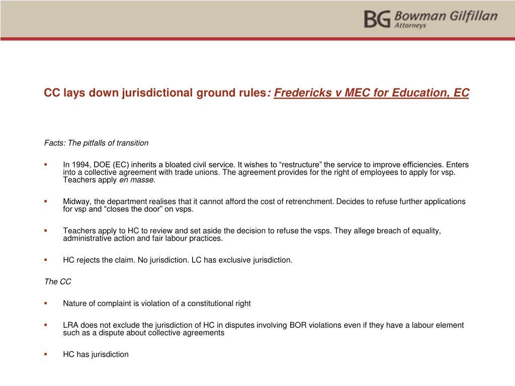 CC lays down jurisdictional ground rules