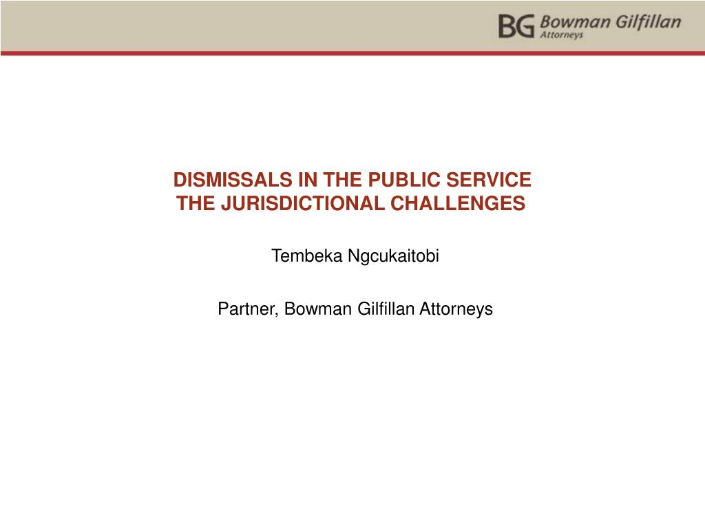 DISMISSALS IN THE PUBLIC SERVICE