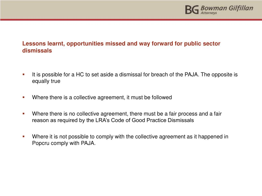 Lessons learnt, opportunities missed and way forward for public sector dismissals