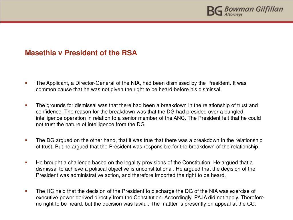 Masethla v President of the RSA