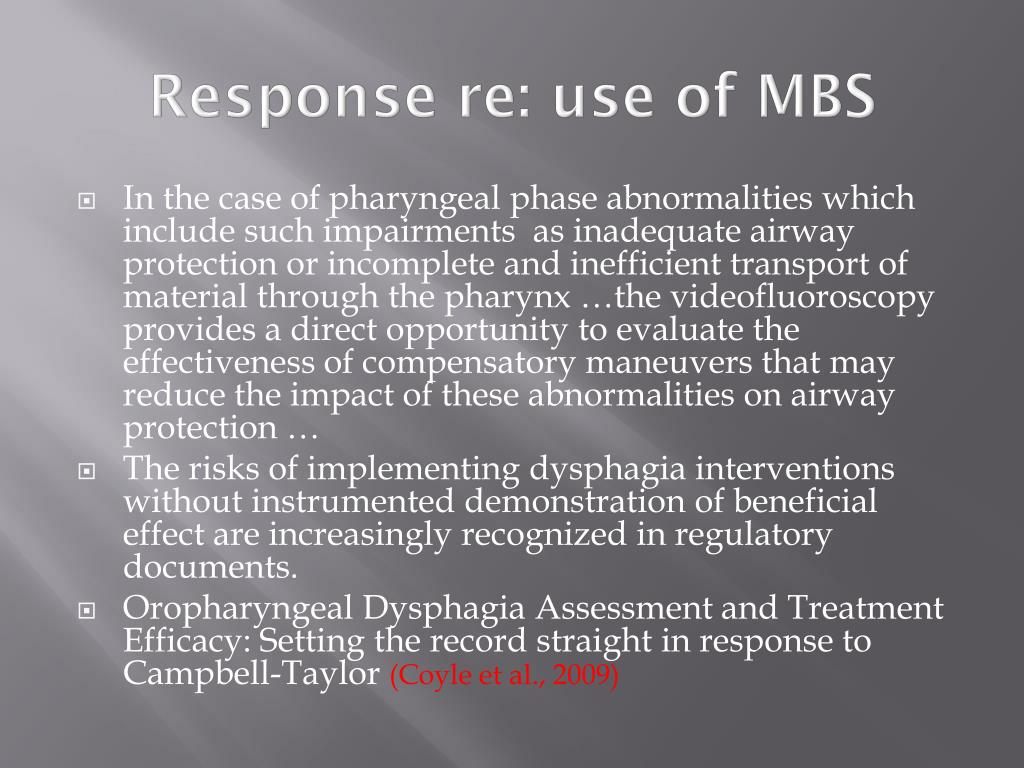 Response re: use of MBS