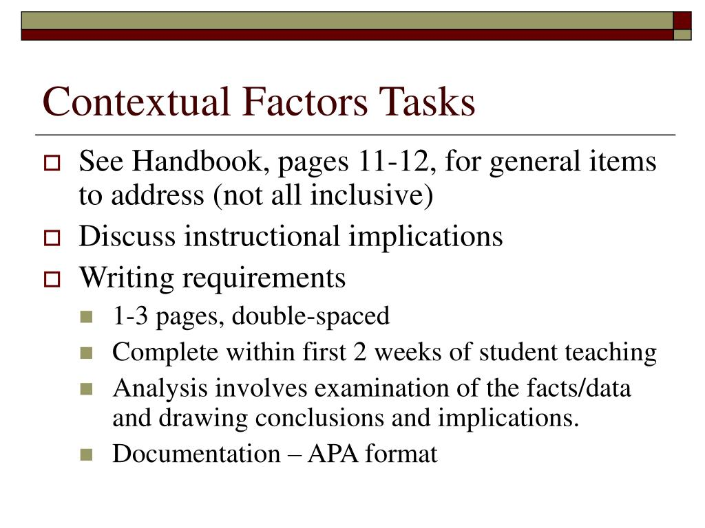 Contextual Factors Tasks