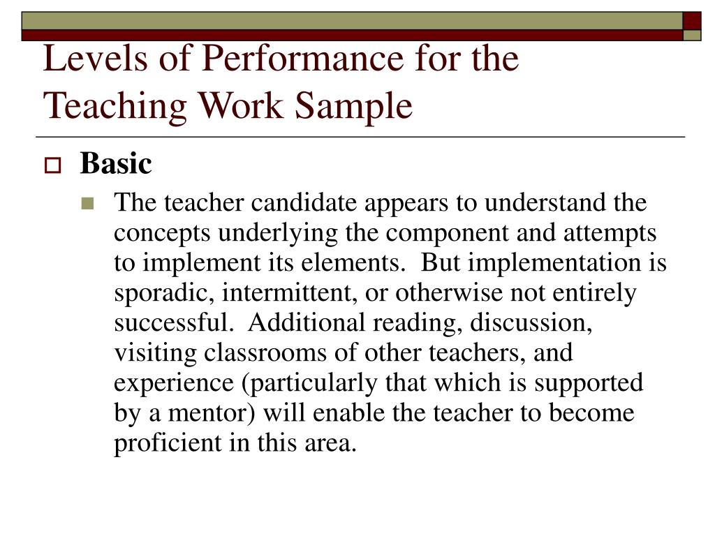 Levels of Performance for the Teaching Work Sample