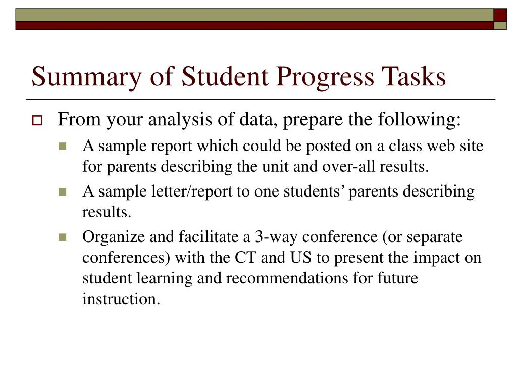 Summary of Student Progress Tasks