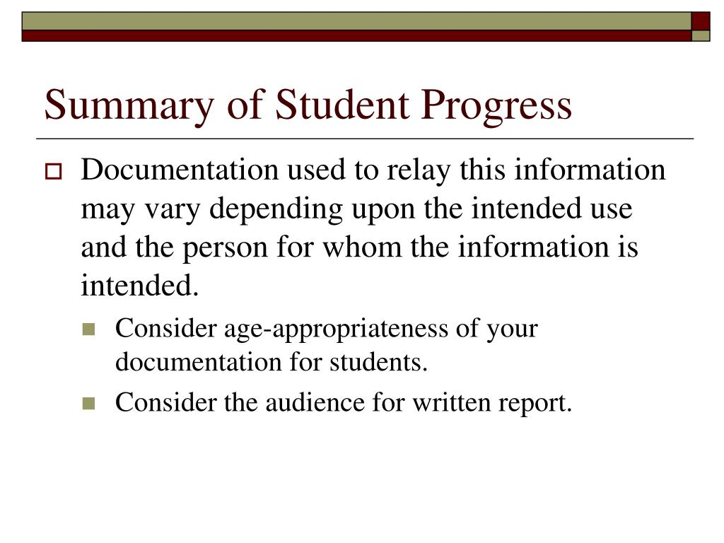 Summary of Student Progress