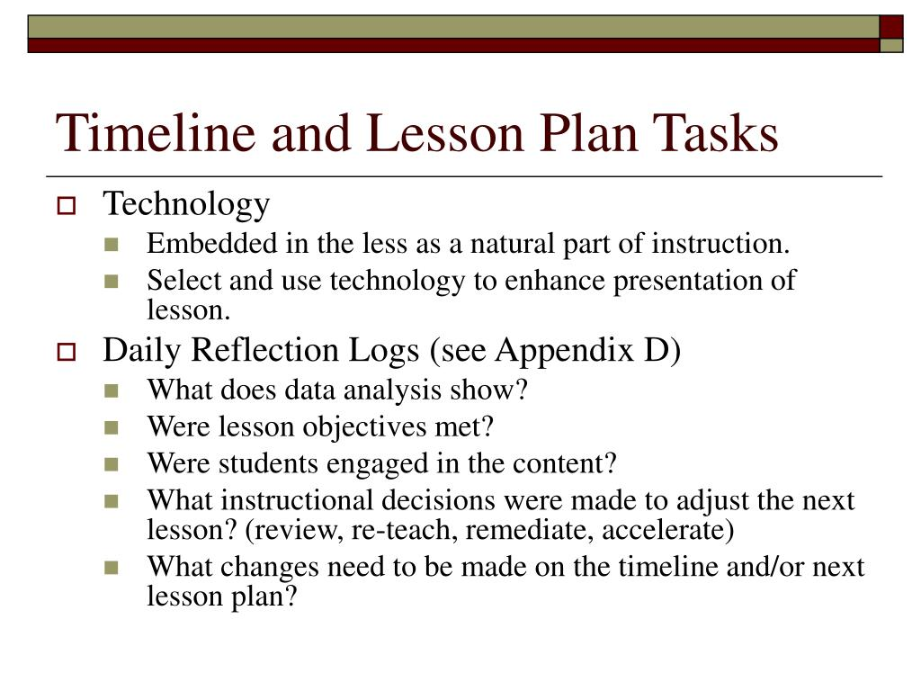 Timeline and Lesson Plan Tasks