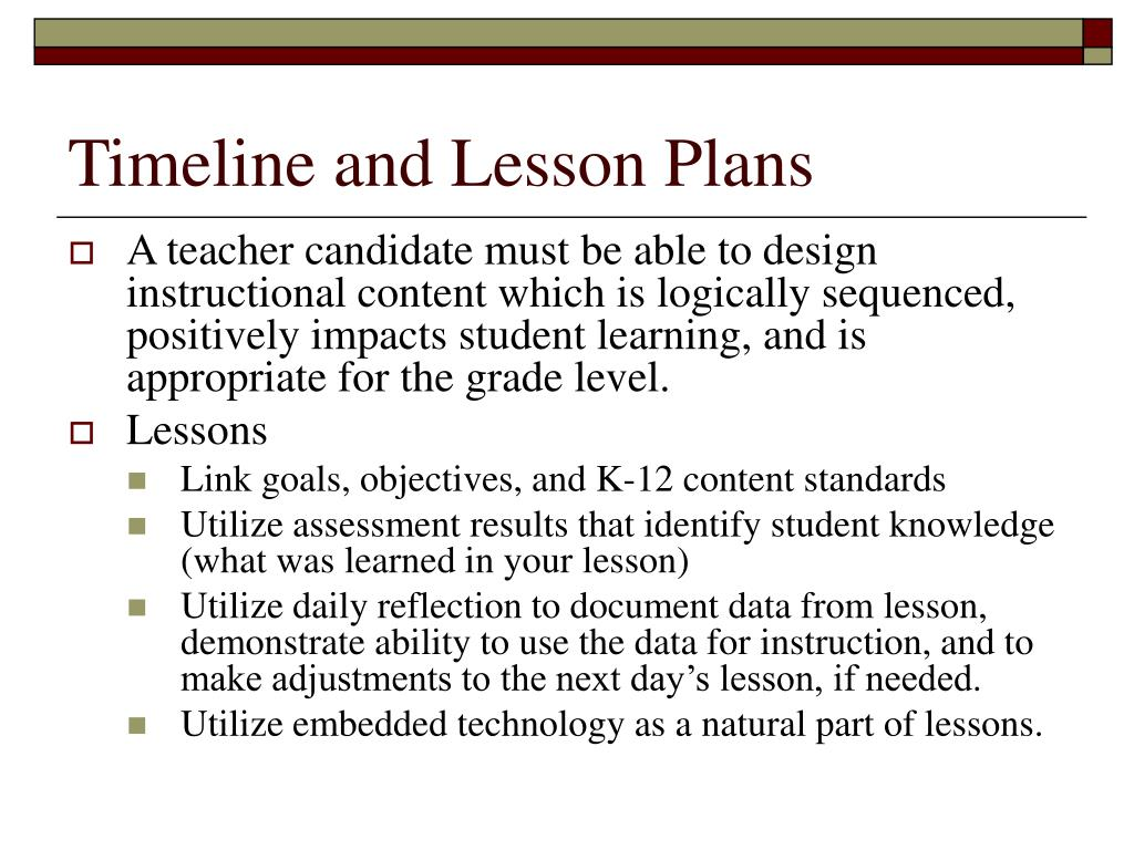 Timeline and Lesson Plans