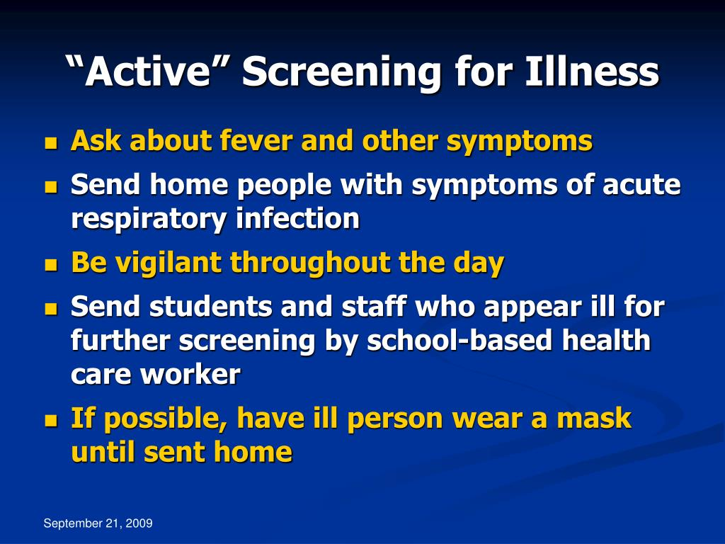 """Active"" Screening for Illness"
