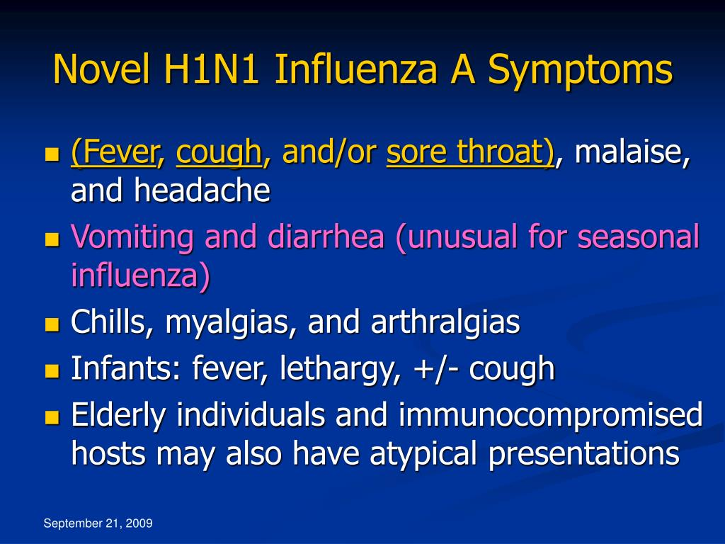 Novel H1N1 Influenza A Symptoms