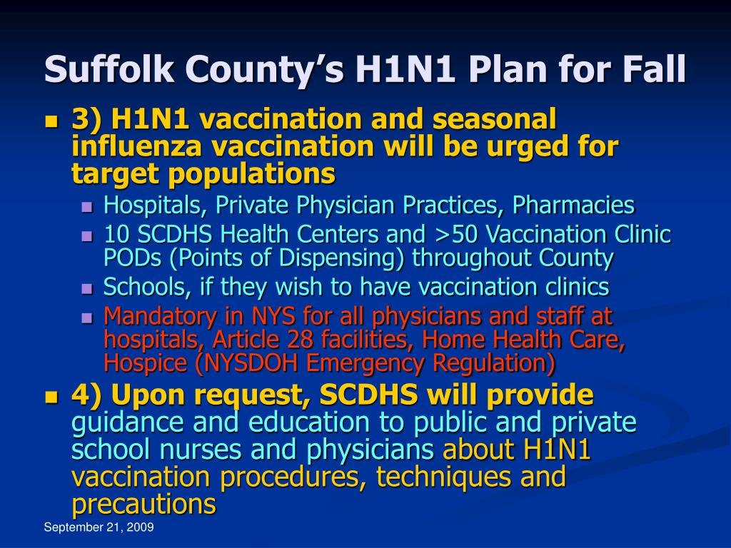 Suffolk County's H1N1 Plan for Fall