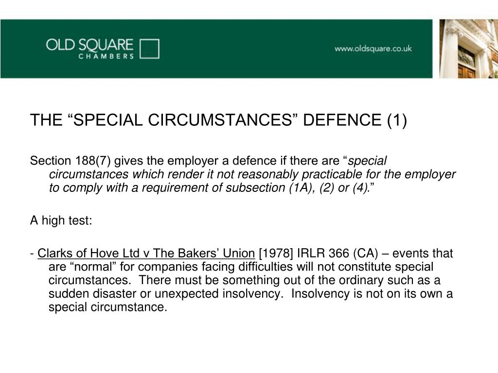 "THE ""SPECIAL CIRCUMSTANCES"" DEFENCE (1)"