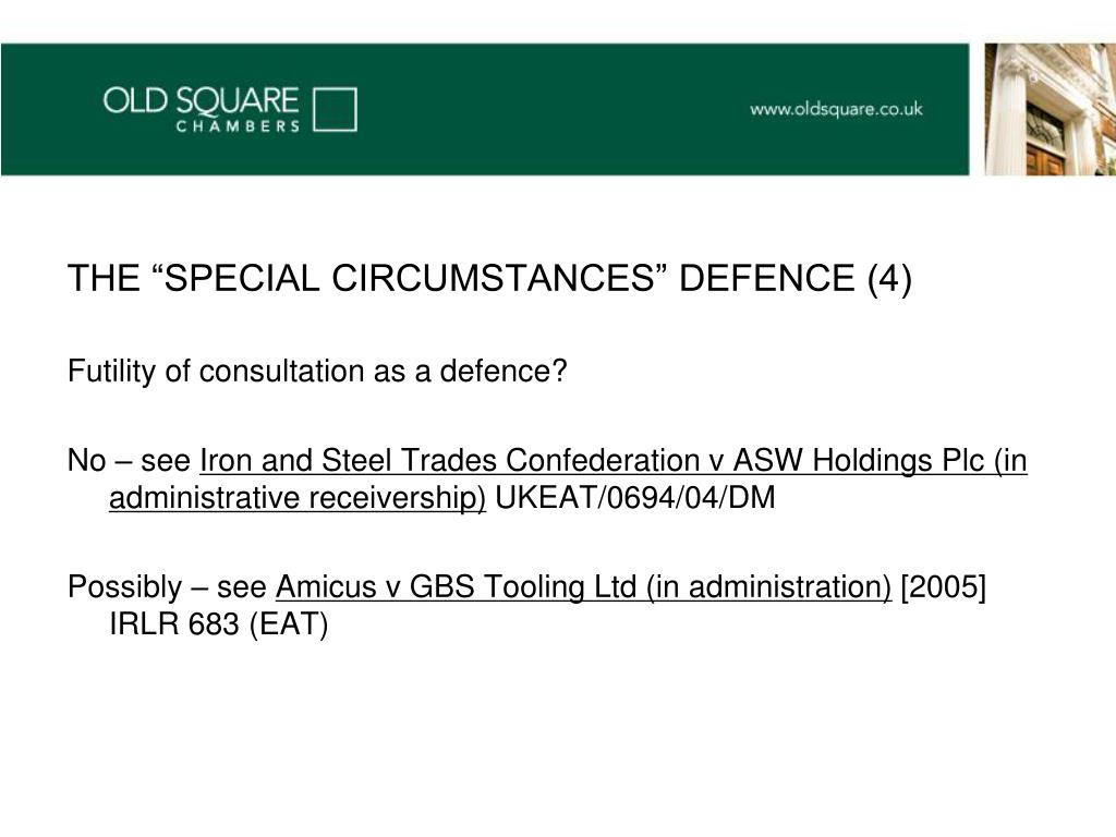 "THE ""SPECIAL CIRCUMSTANCES"" DEFENCE (4)"