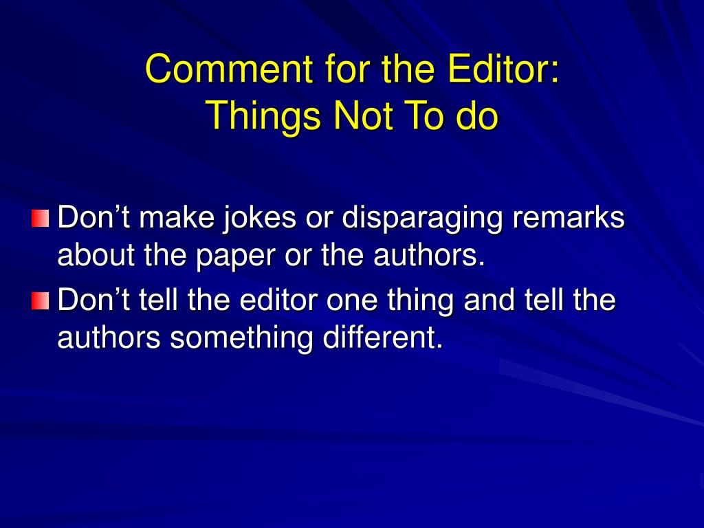 Comment for the Editor: