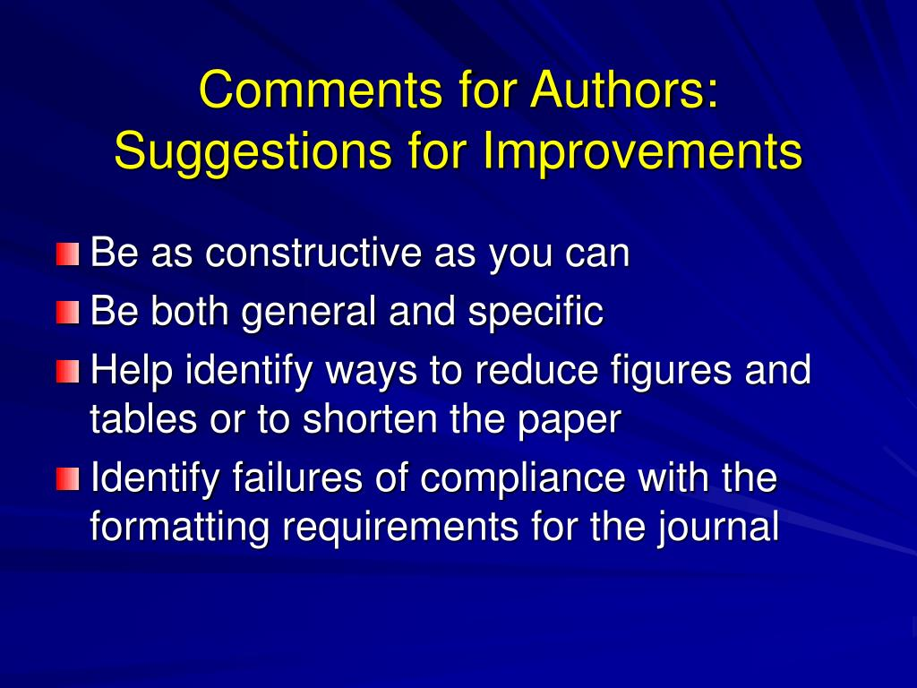 Comments for Authors: