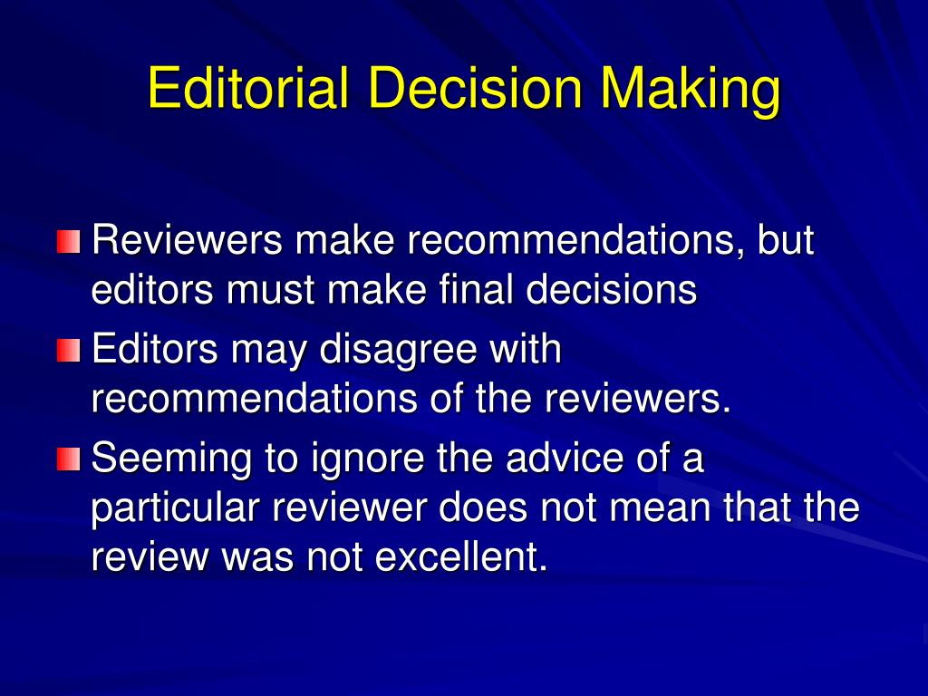 Editorial Decision Making